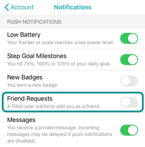 toggle off Friend Request notifications in Fitbit app