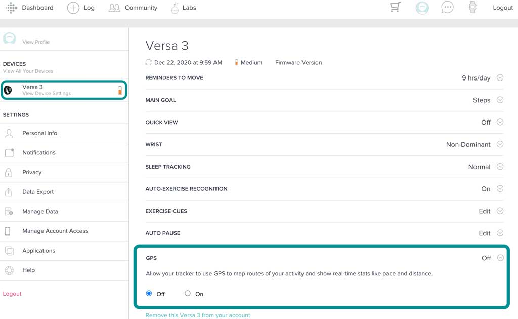 Fitbit online account dashboard turn off GPS