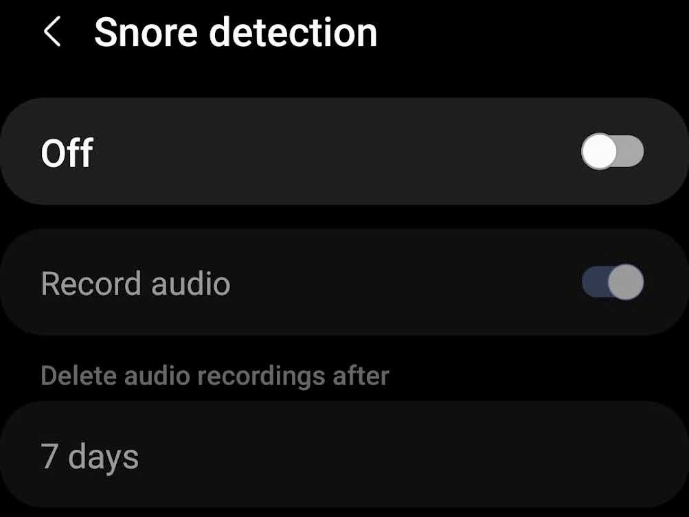 Samsung Health app turn off snore detection