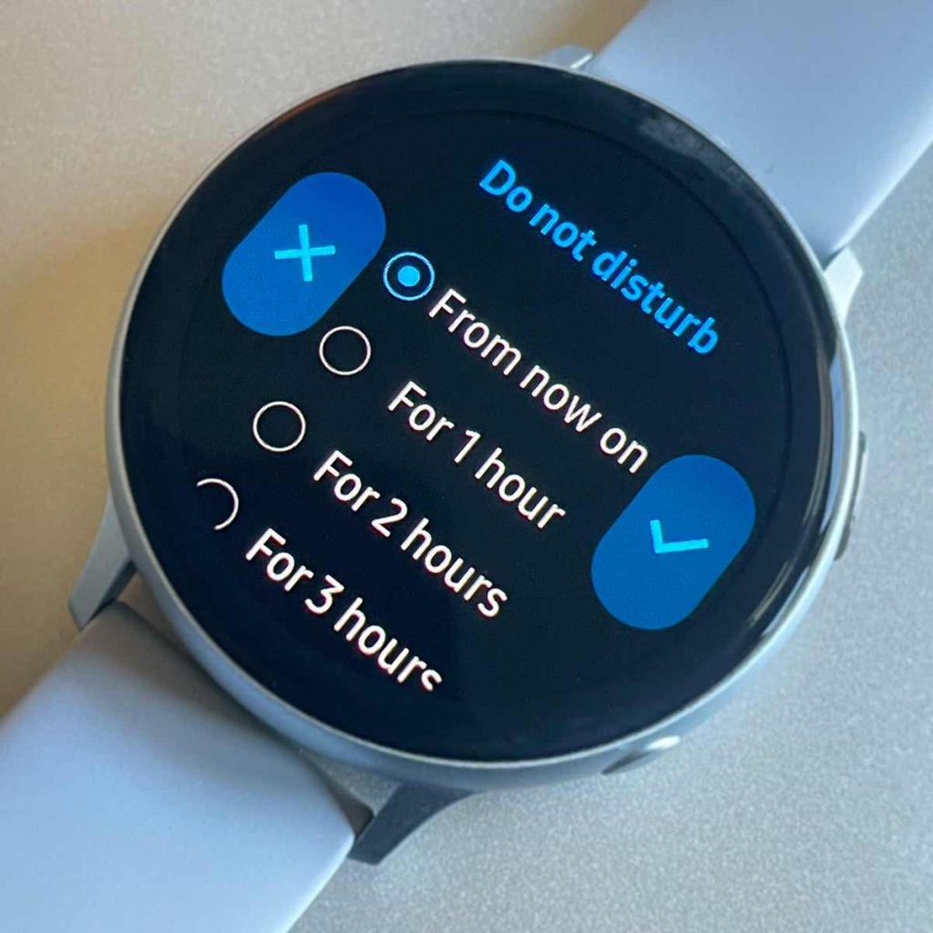choose how long you want your Samsung Galaxy watch Do Not Disturb on for DND
