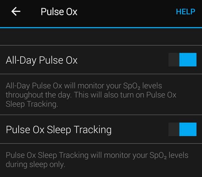 Garmin Pulse Ox set up in Garmin Connect app