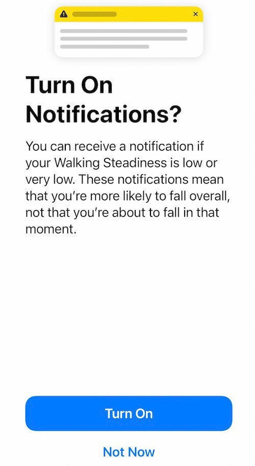 Enable Notifications for Walking Steadiness score