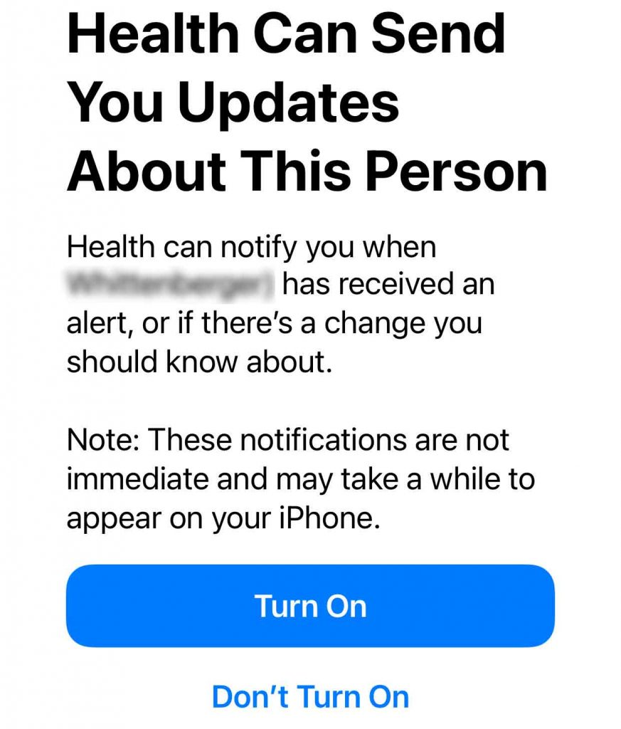 Allow your iPhone to alert you when someone who shares health data with you gets a health alert