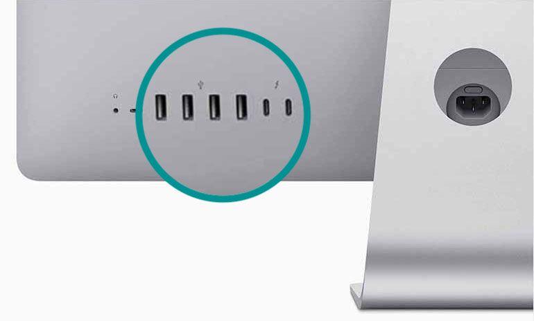 iMac back with USB and USB-C ports
