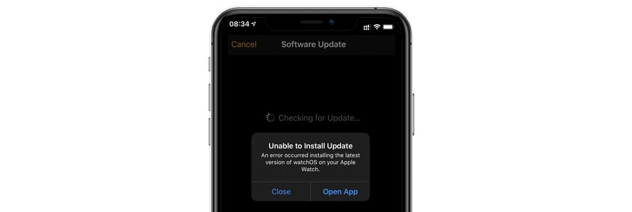 can't install Apple Watch software watchOS update