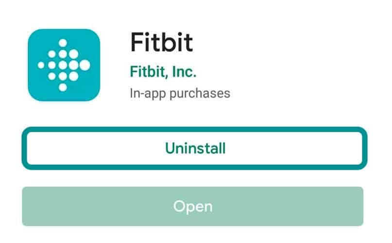 uninstall Fitbit app from an Android phone or tablet