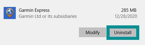 Garmin Express uninstall from Windows