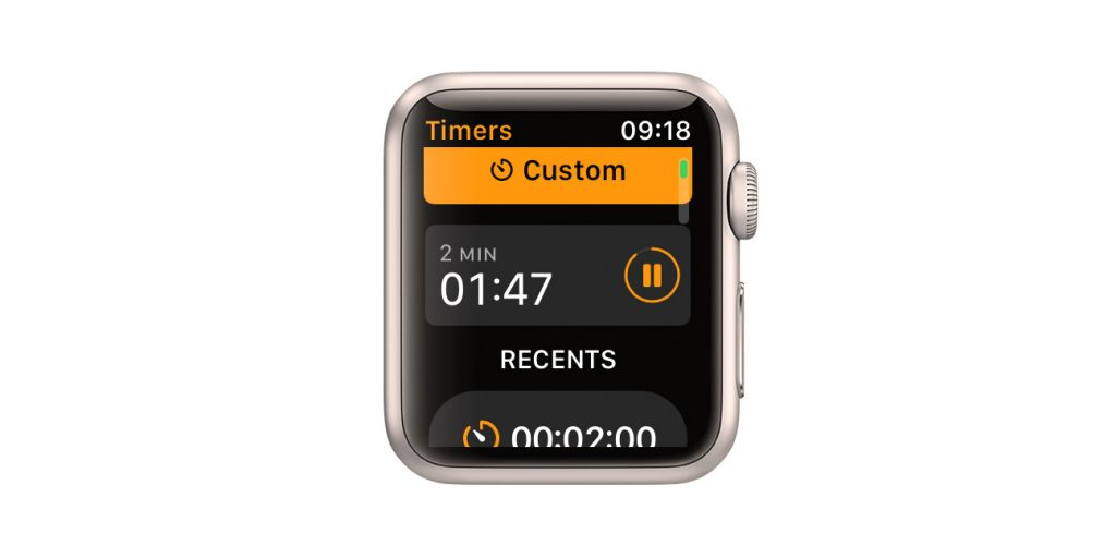 Apple watch timer with no label or description