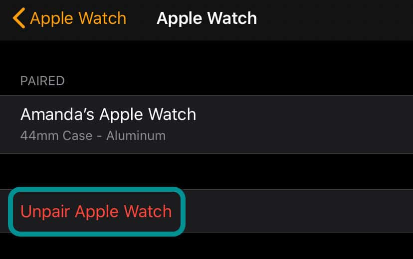apple watch unpair from iPhone