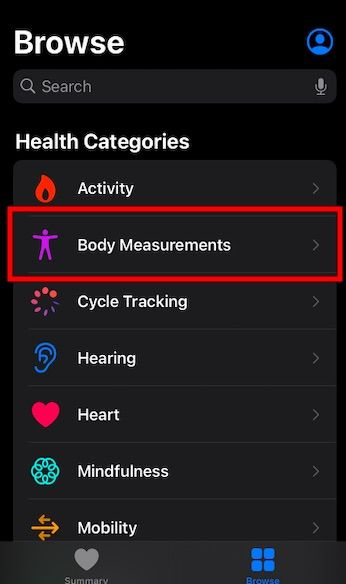 Update body measurements in Health App on iOS 14