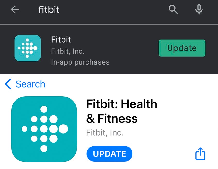 Fitbit app update for Android and Apple iOS