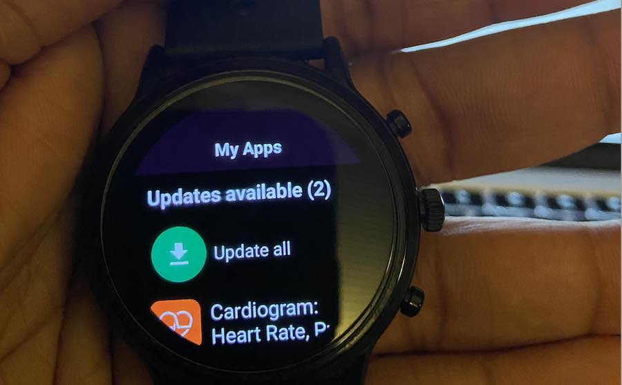 Update watch apps from wear OS play store on smartwatch
