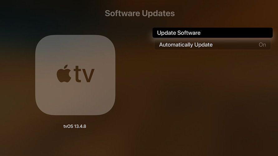 update Apple TV tvOS in setting menu