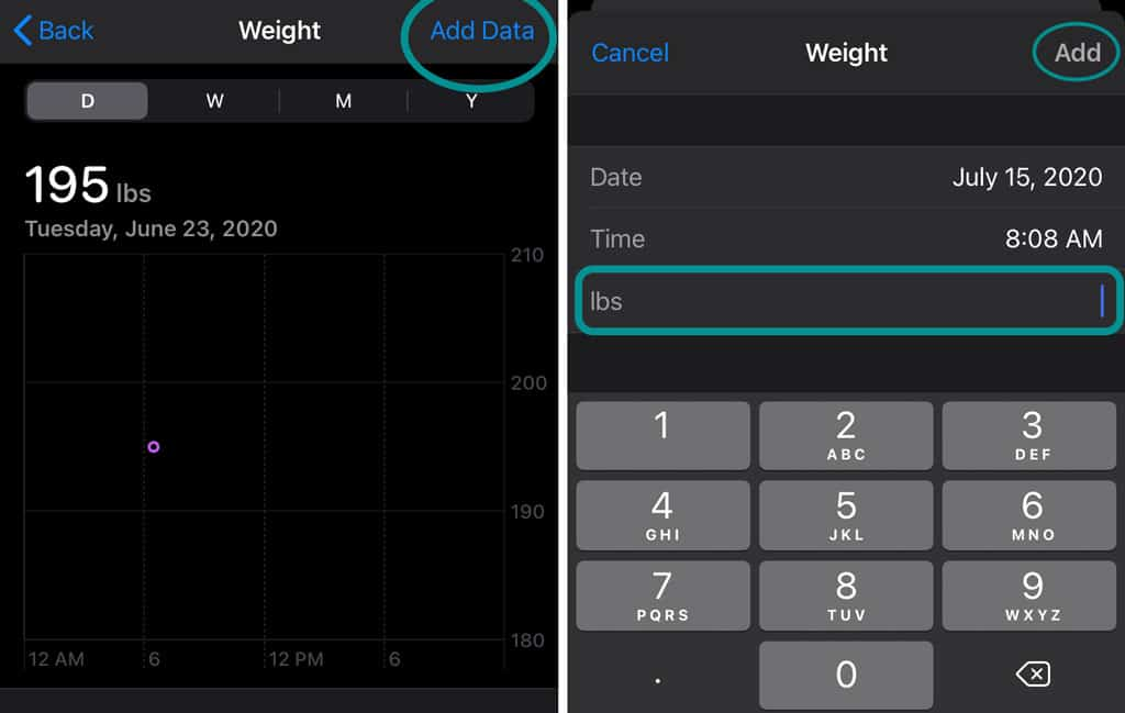 update your weight in the iPhone health app