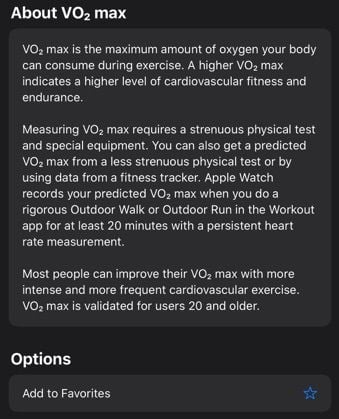 Where is VO2 Max on Apple Watch