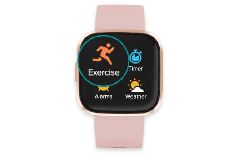 Fitbit exercise app on screen on Versa 2