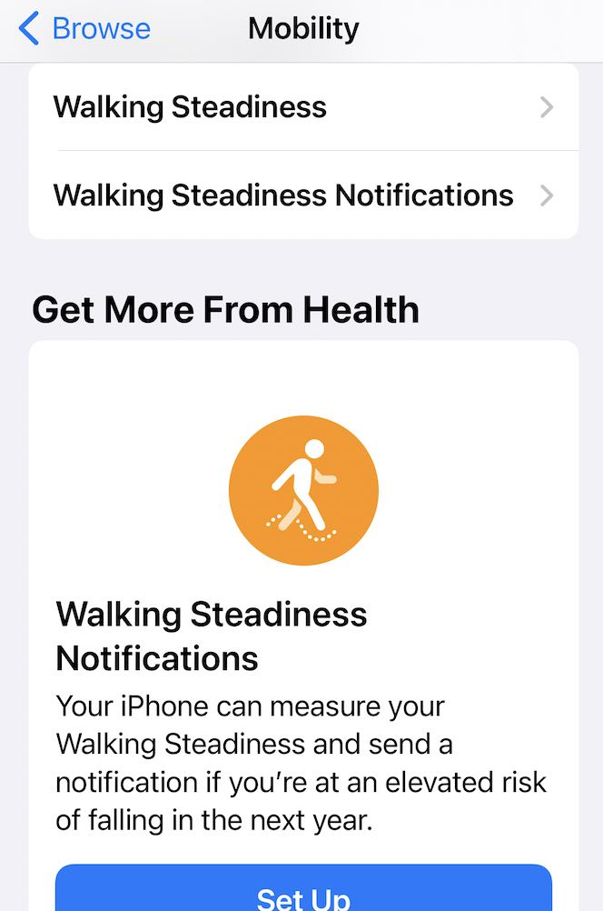 How to setup Walking Steadiness notification feature in iOS 15