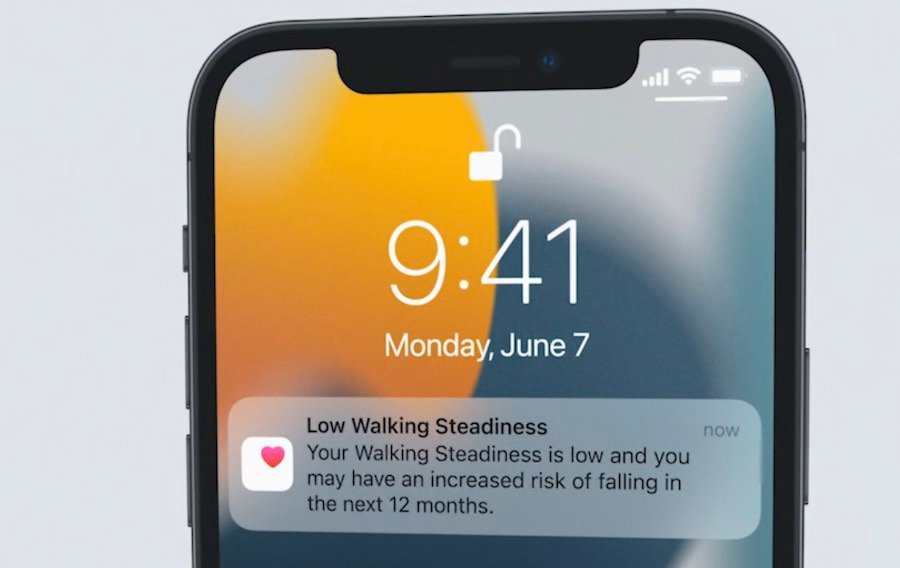 walking steadiness score on Apple Health Mobility