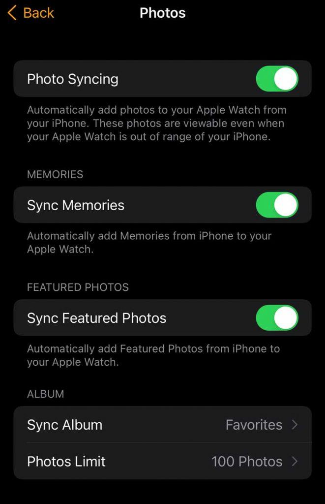 Photos app Photos limit on Watch app on iPhone