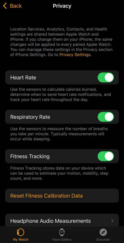 privacy settings in iPhone watch app