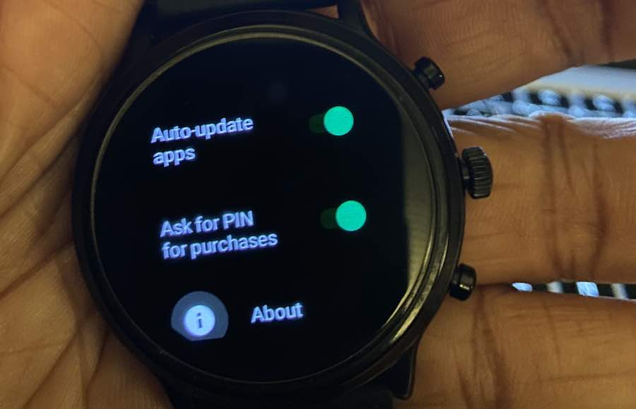 wear OS Play store PIN for payment confirmation