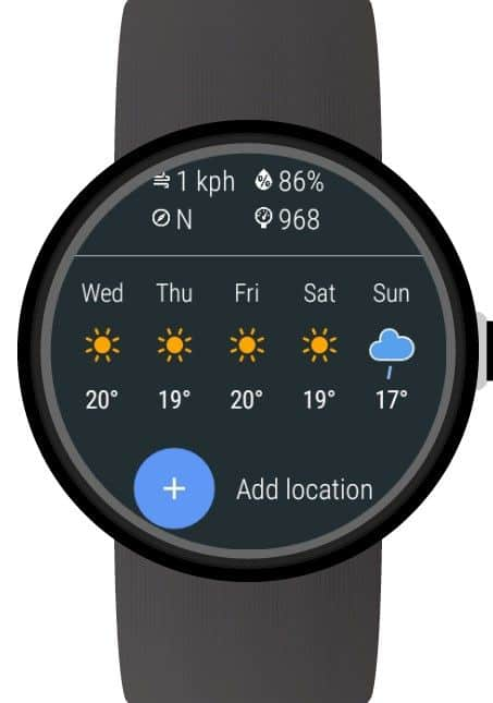 Weather app for wearos