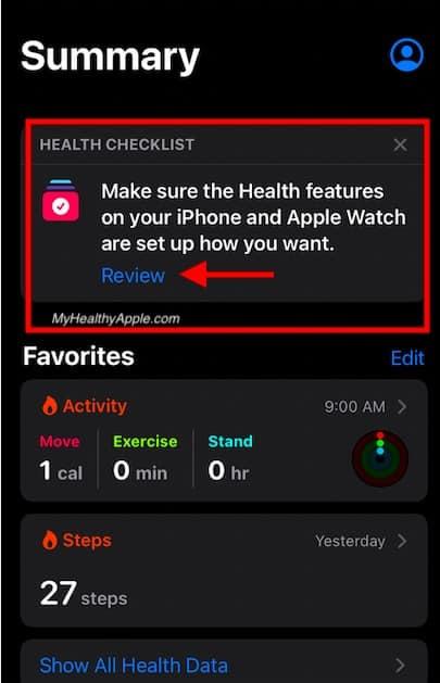Apple Health Checklist feature