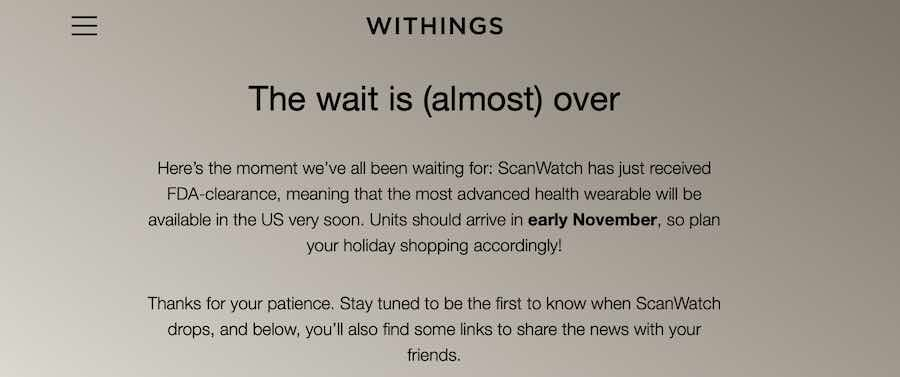 Withings Scanwatch FDA approval