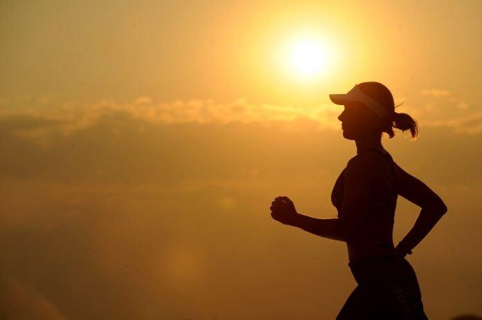 running at sunset or sunrise