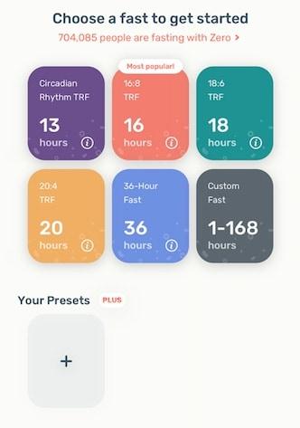 intermittent fasting types on zero app