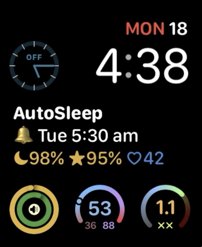 autosleep apple watch complication