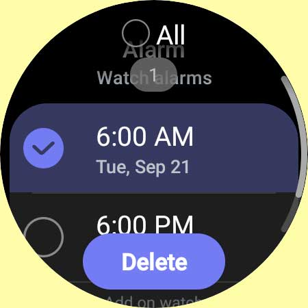 remove an alarm from Galaxy 4 watch
