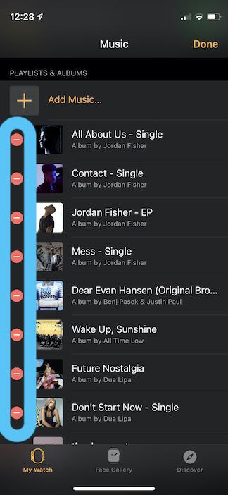 delete music apple watch iPhone app
