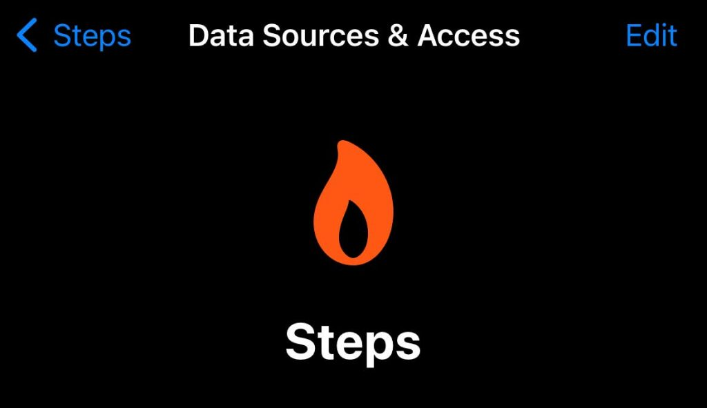 Apple Health edit data sources and access for steps