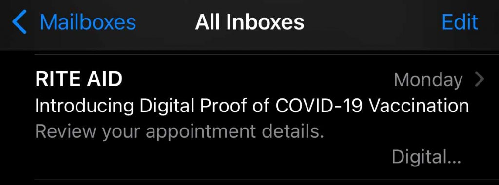 email with digital covid vaccine record access from Rite Aid