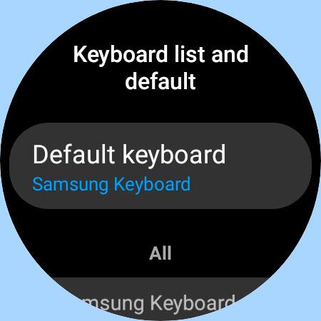 keyboard settings on Galaxy watch 4