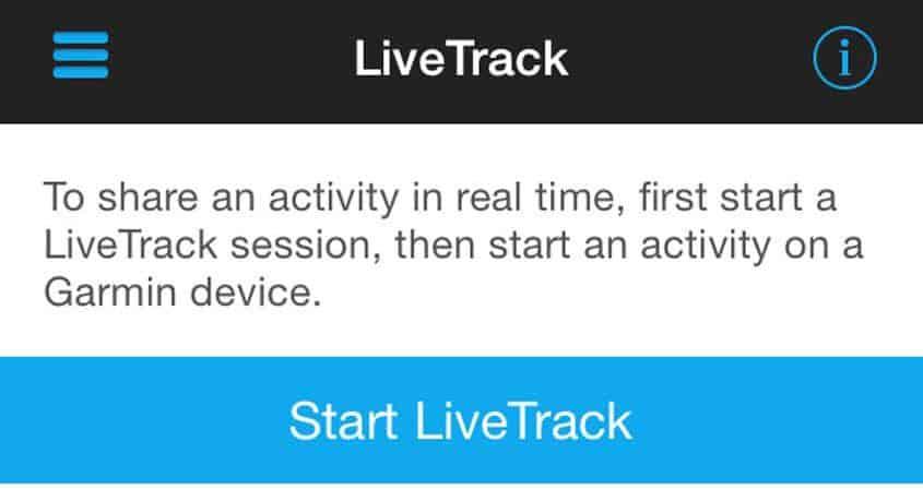 start live track feature on garmin