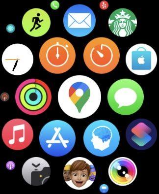 apple watch screen with google maps app in the center