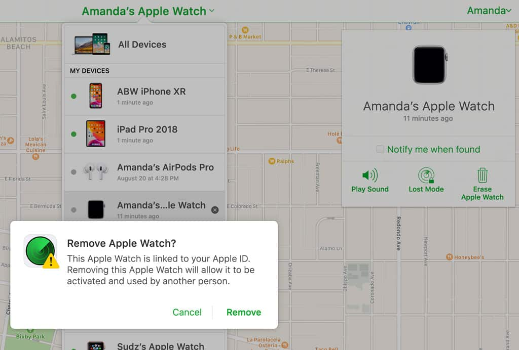 remove apple watch from iCloud Find My app