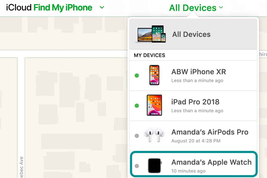All Devices list on Find My iPhone in iCloud's website Apple
