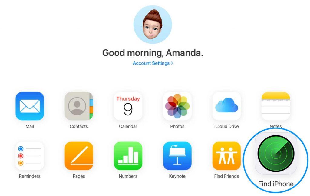 Find My app on Apple's iCloud website