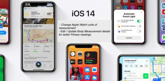 iOS 14 Change unit of metrics for Apple Watch