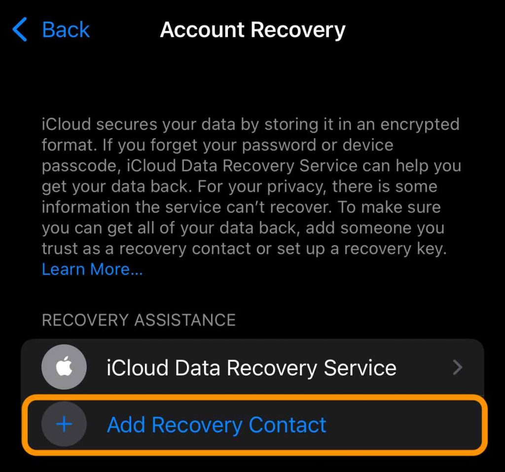 Add Recovery Contact for Apple ID option on iPhone in Settings app for Apple ID