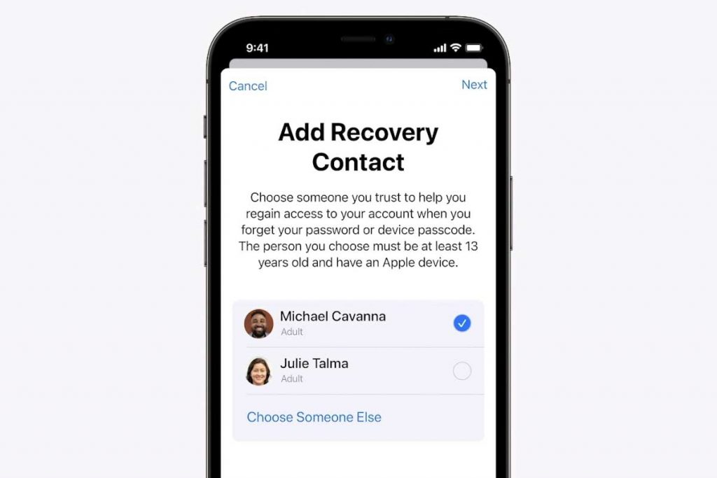 add a recovery contact for your Apple ID using the Settings app on iPhone or iPad