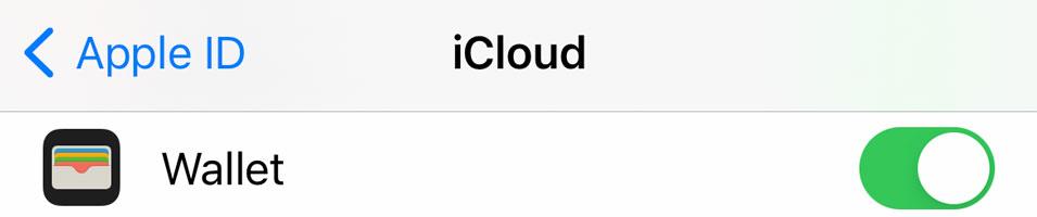 iPhone settings for iCloud Wallet app