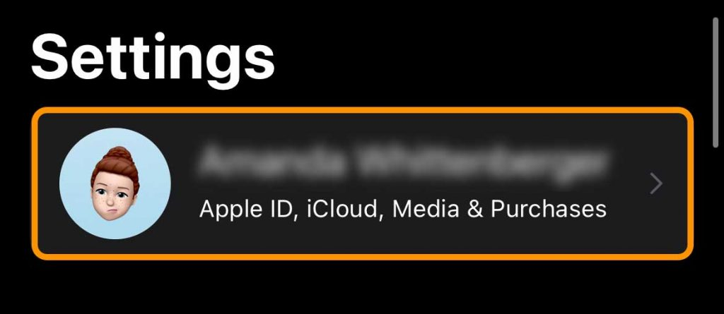 Apple ID is at the top of the Settings app on iPhone, iPad, and iPod touch