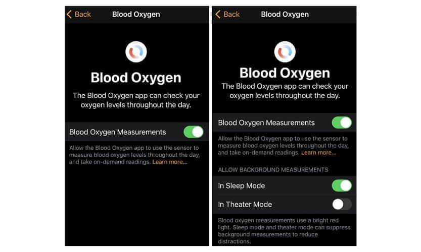 Blood oxygen app settings using Apple Watch app on iPhone