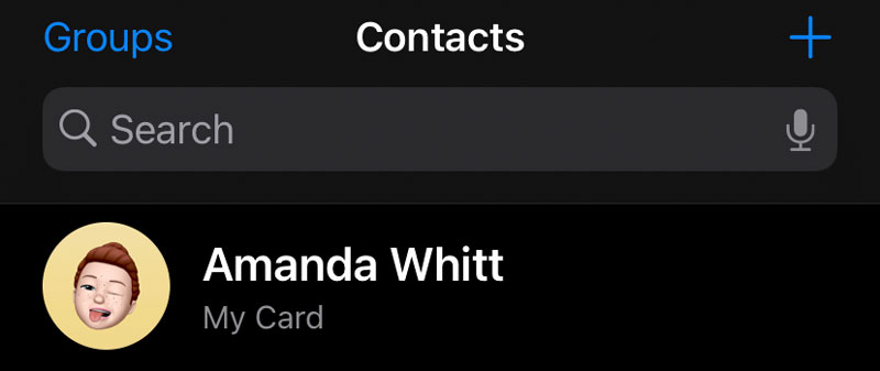 My Card in the Contacts app on iPhone