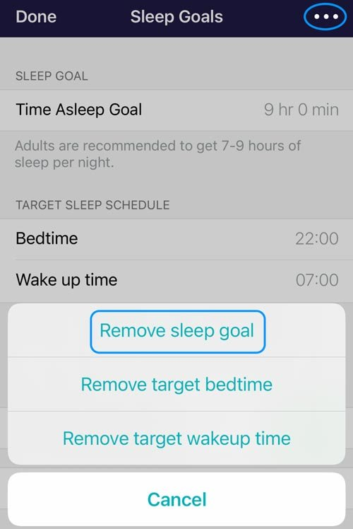 Remove target sleep goal in Fitbit app for iOS