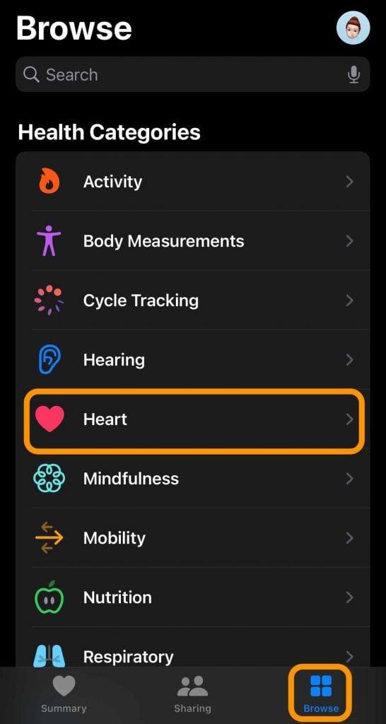 Heart information in iPhone's Health app